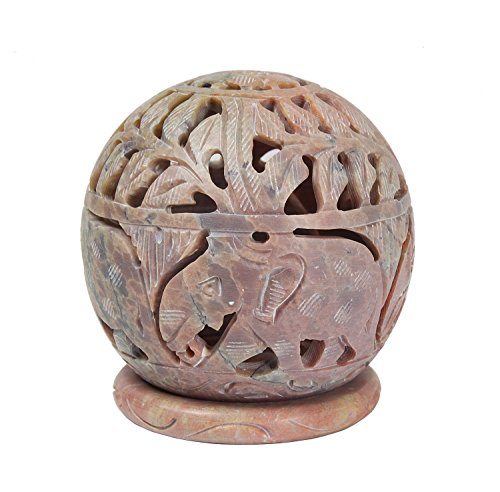 Christmas Gifts Luminous Handmade Engraved Soapstone Tealight Candle Holder 8.8 Cm With...