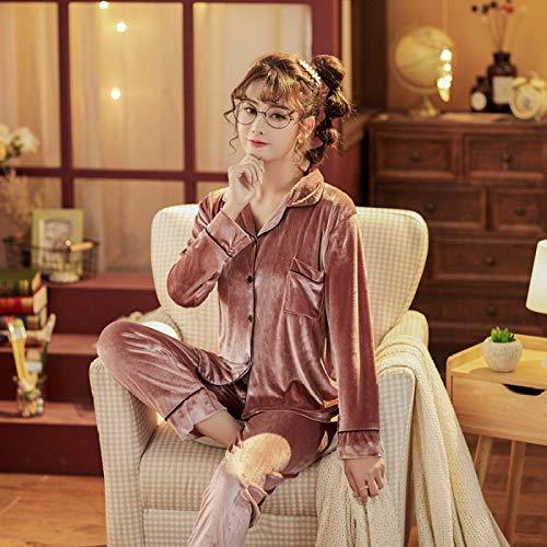 Cálidos Pijamas para Mujer,Conjunto De Pijama De 2 Piezas De Terciopelo Rosa Polvoriento para Mujer, Conjunto De Vestido Vintage De Invierno De Color Sólido, Ropa De Dormir Sexi P