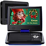 SUNPIN 11' Portable DVD Player for Car and Kids with 9.5 inch HD Swivel Screen, 5 Hour Rechargeable Battery, Dual Earphone Jack, Supports SD Card/USB/CD/DVD, with Extra Headrest Mount Case (Blue)