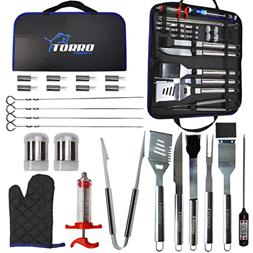 Torro Products 25PCS BBQ Grill Stainless Steel Laser Etched Logo Tool Set, Accessories, Grilling Kit Oxford Case, Camping, Kitchen, Barbecue, Summer, Parties Utensil for Men Women with Thermometer