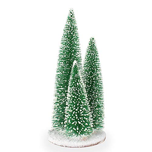 Bivan Tabletop Mini Christmas Trees, 35cm Small Pine ArtificialChristmas Tree with Glitter Sequin Snowy Desktop Xmas Decoration for Holiday Party Home Office Store Bar Decor