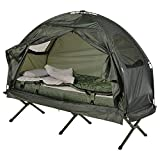 1-Person Folding Tent Outdoor Elevated Camping Cot with Air Mattress Sleeping Bag | Save Now Shop Now