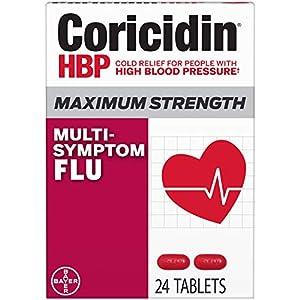 Coricidin Hbp, Decongestant-free Maximum Strength Multi-symptom Flu Tablets, 24 Count