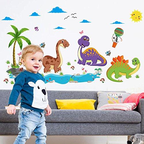 Wallpark Dibujos animados Dinosaurio Mundo Desmontable Pegatinas de Pared Etiqueta de la Pared, Bebé Niños Hogar Infantiles Dormitorio Vivero DIY Decorativas Adhesivo Arte Murales