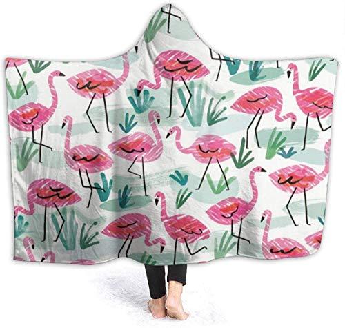 Hoodie-Decken für Erwachsene Kinder, warm halten, weiche Überwurfhülle für Lounge-Couch, Lesen, Fernsehen, Flamingo-Zeichnungen, Übergroße, tragbare Überwurfdecken