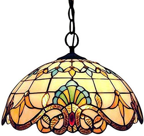 Tiffany Colgante Lámpara Vintage Diseño Vintage Sala De Estar Comedor Veranda Mediterráneo Corredor Balcón Apego Lámpara Colgante Redondo Pastoral Rústico Manchado Vidrio Cristal Aduanas Decoración Co