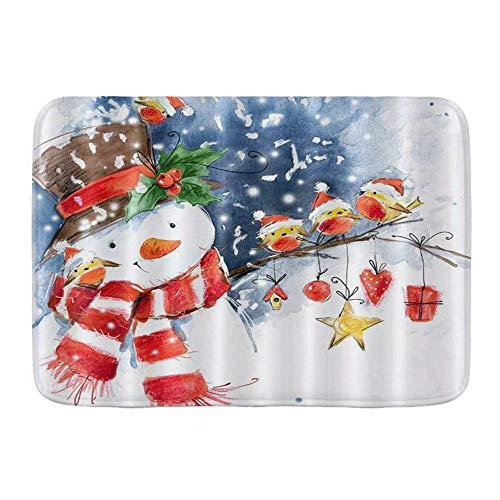 KASMILN Badematte,Aquarell Cartoon Schneemann Vögel tragen Weihnachtsmützen stehende Zweige im Winter Schnee,Verdickte saugfähige rutschfeste Badezimmermatte, Türmatte