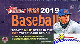 2019 Topps Heritage Minor League Baseball HUGE Factory Sealed HOBBY Box with TWO(2) AUTO/MEMORABILIA Cards & 1970 Box loader Loaded with the Best Young Baseball Future Superstars in the Game! WOWZZER!