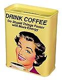 Unbekannt Klang und Kleid Spardose Drink Coffee-Retro Kaffeekasse, Metall, gelb, 9x4.5x11.5 cm