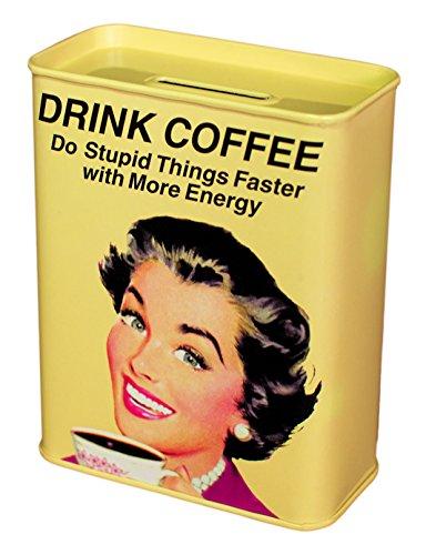 Unbekannt Klang und Kleid Spardose Drink Coffee - Retro Kaffeekasse, Metall, gelb, 9x4.5x11.5 cm