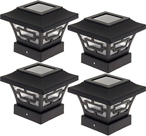 Westinghouse Hilltop 20 Lumens Solar Fence Post Cap Lights for 4x4 Wood Posts (Black, 4 Pack)