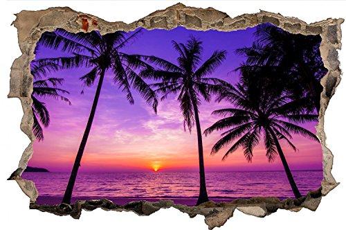 Beach Palmen Strand Dämmerung Wasser Meer Wandtattoo Wandsticker Wandaufkleber D0440 Größe 70 cm x 110 cm