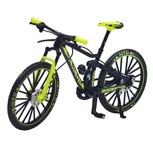 Ailejia Racing Bicycle Finger Bike Toy Mini Mountain Bicycle Vehicles Model Decoration Crafts for Home (Black Green)