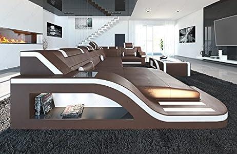 Piel Salón paisaje Palermo U forma color marrón oscuro de color blanco