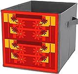 Platzsparende Aufbewahrungsbox, faltbar, quadratisch, robust, Retro-Orange