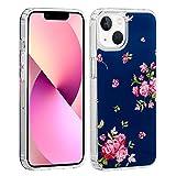 """32nd Série Floral Gel - Coque Transparente avec Motif Floral pour Apple iPhone 12 Mini (5.4""""), Coque Arrière Rigide avec Bords en Gel TPU - Rose Retro Indigo"""