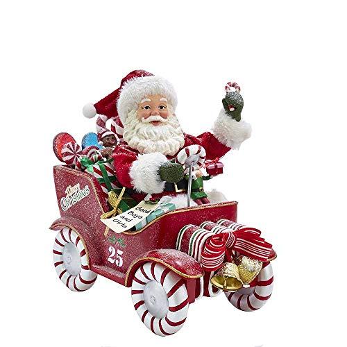 Kurt S. Adler Kurt Adler 8.5-Inch Fabriché Musical Candy Car Santa, Multi