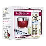 Olay Pack Regenerist 3 Áreas Crema Hidratante Día + Cleanse Agua Micelar Esencia de Agua Húngara con Extractos de Aloe Vera y Pepino