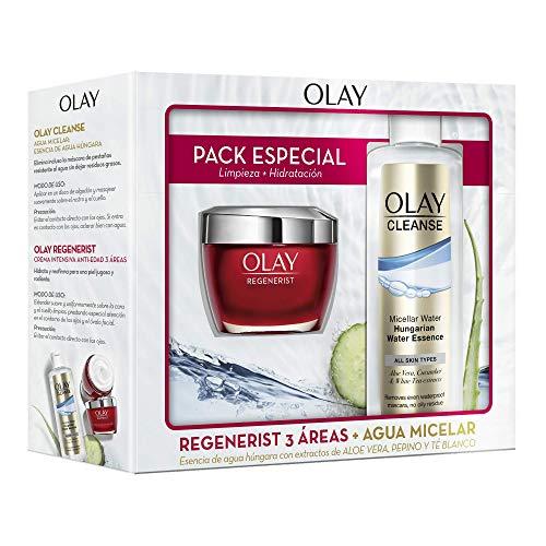 Olay Pack Crema Hidratante Regenerist 3 áreas Día + Cleanse Agua Micelar Esencia de Agua Húngara Con Extractos de Aloe Vera y Pepino