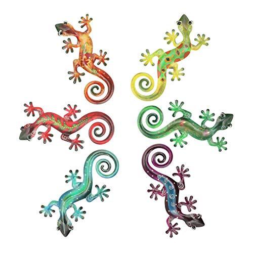 Hanizi - Escultura de metal para colgar en la pared, diseño de gecko para interiores y exteriores, 6 unidades de 21,6 x 15,5 cm