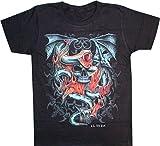 Biker T-Shirt Schlange Drache Totenkopf Tribal Flamme beidseitig Bedruckt (XL)