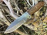 Perkin Knives Cuchillo de Caza Hecho a Mano de Acero Damasco con Funda de Cuero