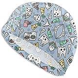 mallcentral-EU Los Gorros de natación de Dientes dentales de Dentista de Dibujos Animados para Hombres y Mujeres también Son adecuados para niños y niñas.