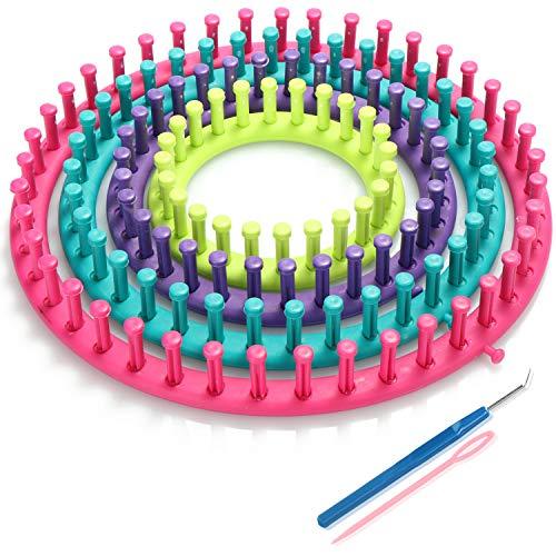 com-four® 6-teiliges Strickringset, Knitting Looms für Anfänger, Profis & Kinder, runde Strickrahmen mit Anleitung & Zubehör, Strickset für Socken, Schals & Mützen (06-teilig - Rund)