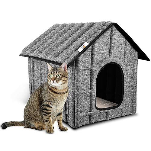 PUPPY KITTY Casa para Gatos para Exteriores, Resistente al Invierno, Plegable, con colchón extraíble, Suave y cálido