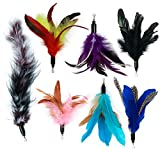 EcoCity Cat Wand Feather Refills for Interactive Cat and Kitten Wands Include 6 Pieces Replacement Feathers and 1 Soft Furry Tail (7 Pieces)
