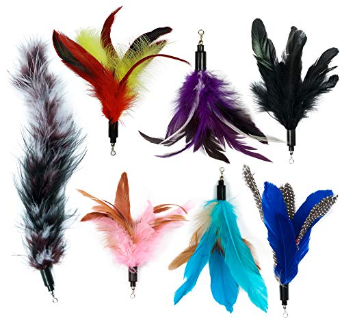 Cat Wand Feather Refills for Interactive Cat and Kitten Wands Include 6 Pieces Replacement Feathers and 1 Soft Furry Tail (7 Pieces)