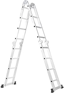 Telescoping Ladders Extension Multifunction Aluminum Alloy Adjustable Folding Ladder with 2 Panels for Home Warehouse adju...