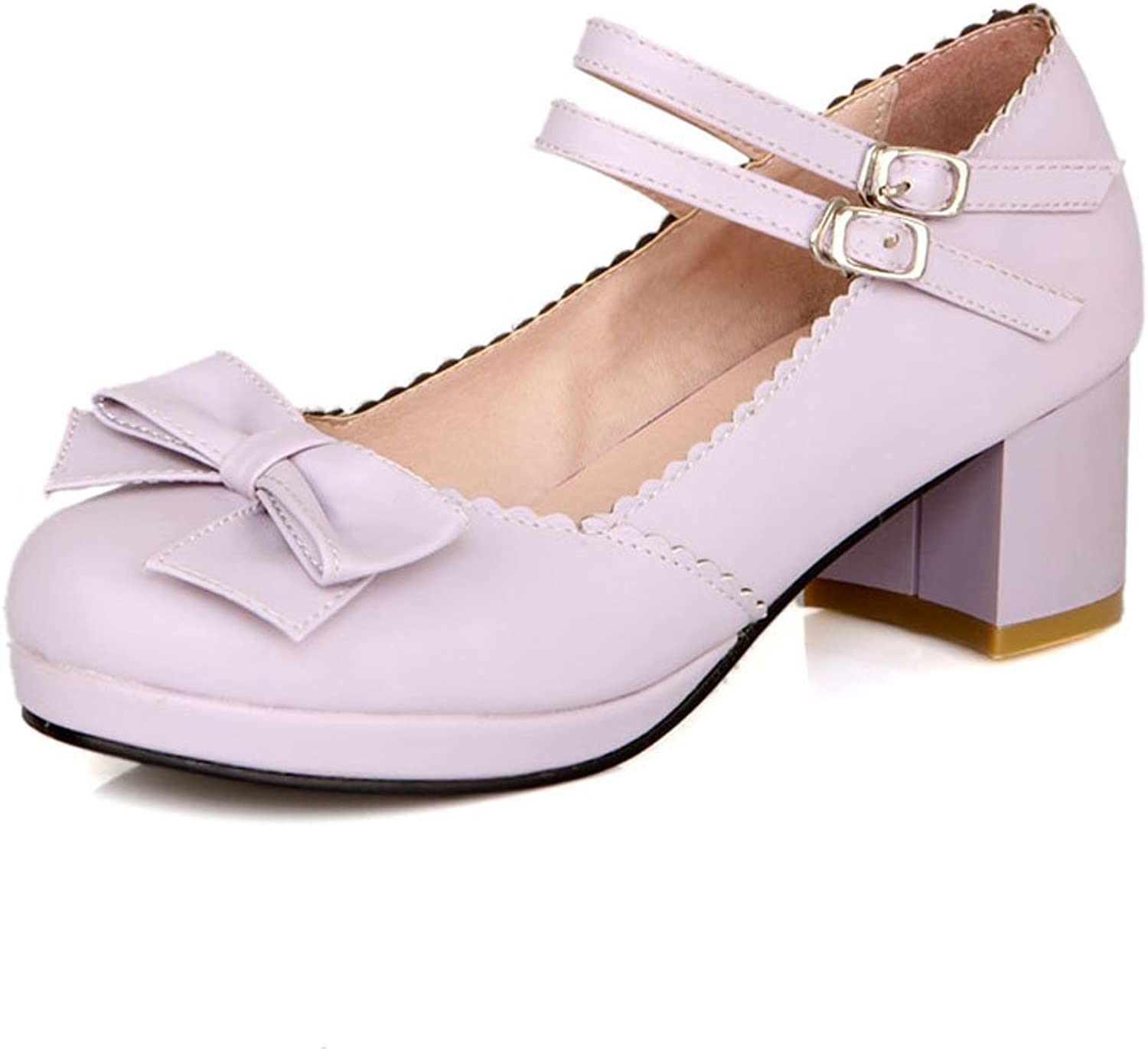 Lucksender Womens Round Toe Mid Heel Mary Jane shoes with Cute Bowknot