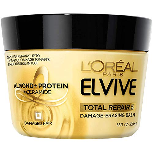 L'Oreal Paris Hair Care Elvive Total Repair 5 Damage-Erasing Balm, Almond and Protein, 8.5 Fluid...