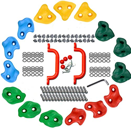 Kids Rock Climbing Holds Grip Multicolor Pack of 5/9/15, Climbing Rocks Stone Children Wall Grab with Handle Mounting Hardware Kit for Climbing Frames Tree House Garden Outdoor Playground (Pack of 15)