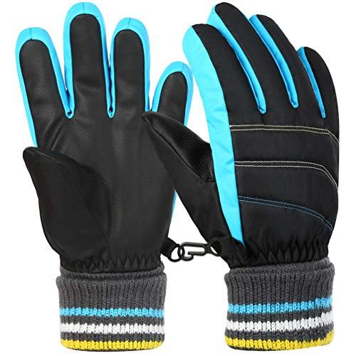 Vbiger Kinder Skihandschuhe Warme Winter Handschuhe Kalt Wetter Handschuhe Reißfeste Outdoor Sport Handschuhe mit extra langen Ärmeln Faltbare Manschette für Junge und Mädchen, Blau, L (10-12 Jahre)