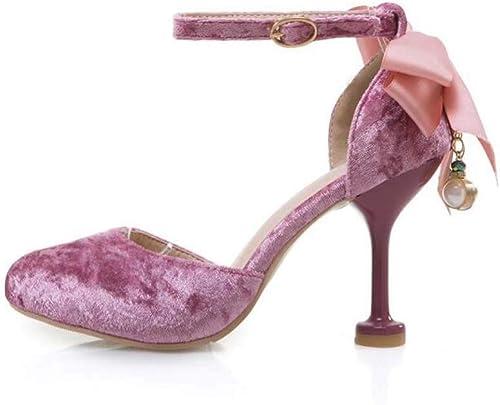 Las damenes Sandalias De Correa del Tobillo, Gamuza Loose Comfy Stiletto Heel Buckle schuhe De Fiesta De Baile,Natural,40EU