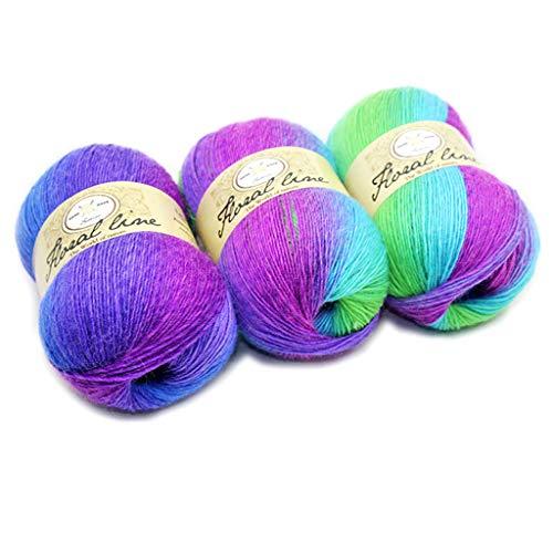 Hilado suave de hilo de tejer hilo de arco iris degradado madejas de hilo para artesanías ropa de bebé, muebles, tejer ganchillo de lana
