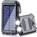 Pealiker Solar Power Bank 10000mAh Portable Solar Charger External Backup Battery Pack IP65