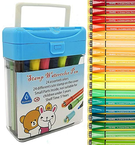 Onmust Stamp Markers for Kids, Washable Watercolor Markers, Non-toxic Fine Tip Coloring Marker Pens with Storage Case - 24 Colors