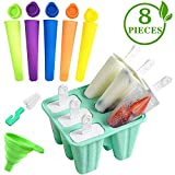Kmivo Popsicle Molds 6 Pieces Silicone BPA Free Frozen Maker + 5 Pieces Reusable Ice Cream DIY Tubes with Lids Ice Pop Molds Easy Release (Including Silicone Funnel and Cleaning Brush)