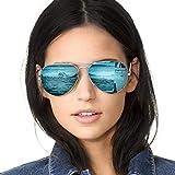 SODQW Pilotenbrille Sonnenbrille Damen Verspiegelt Polarisiert Mode Flieger Brille für Autofahren Angeln Metallrahmen 100% UVA/UVB Schutz (Silber Rahmen Blaue Linse (Spiegel))