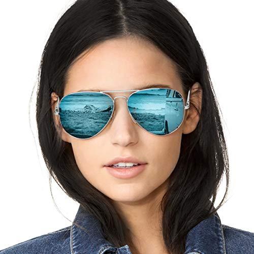 SODQW Gafas de Sol Polarizadas Mujer Espejo Marca Clásico Metal Marco 100% UVA/UVB Protección (Marco de Plata Lente Azul (Espejo))