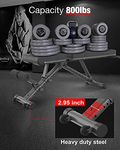 BARWING Adjustable Bench- 800lbs Folding Weight Bench 5-in-1 Strength Training Workout Bench Press for Weight Lifting with Dragon Flag, Automatic Lock Flat Incline Decline Bench for Home Gym Black