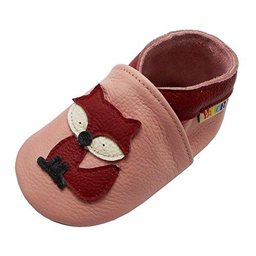 YALION Premium Weich Leder Babyschuhe Krabbelschuhe Lauflernschuhe Hausschuhe mit Fuchs Rosa, 6-12 Monate