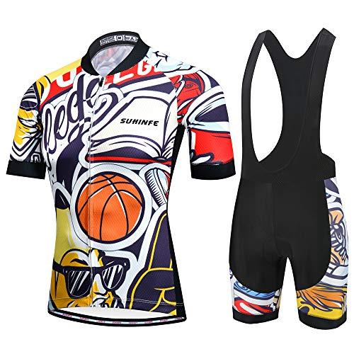 SUHINFE Maglia Ciclismo Uomo Manica Corta, Abbigliamento Sportivo da Ciclismo con Pantaloni Ciclismo Salopette Asciugatura Rapida per MTB Ciclista, L