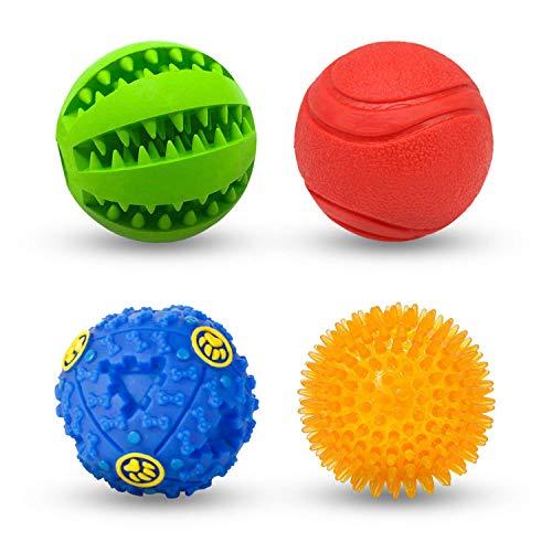 AWIIK - Pack de 4 Pelotas de Juguetes interactivos para Perros. Bolas de Caucho y Goma Resistentes para morder, Limpiar Dientes, dispensadoras de Comida y Entrenamiento. Small: para Perros PEQUEÑOS
