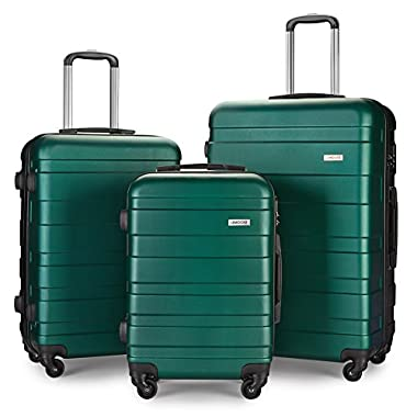 Luggage Set Spinner Hard Shell Suitcase Lightweight Carry On - 3 Piece (20  24  28 ) (Green-3)