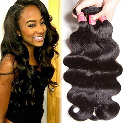 Beauty Forever Hair Brazilian Virgin Body Wave Hair Weave 3 Bundles 18 20 22 inch 10A Unprocessed Virgin Human Hair Weave Extensions Natural Color(100+/-5g)/pc
