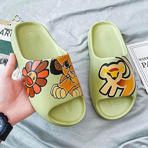TDYSDYN Mujeres Zapatos de Piscina Chanclas de Playa,Zapatillas de Coco de Suela Gruesa, Sandalias de Interior Antideslizantes-Pequeño Leon_44